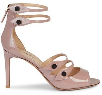Valentino Button-Strap Patent Leather Sandals