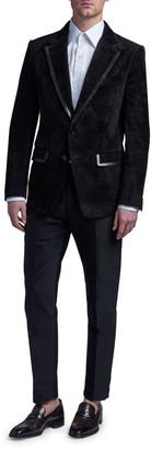 Tom Ford Men's Suede Blazer w/ Tonal Leather Trim