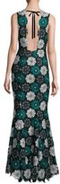 Zac Posen April Sleeveless Medallion Lace Gown, Blue/Black