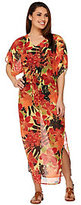 Denim & Co. As Is Beach Floral Printed Caftan with Waist Tie