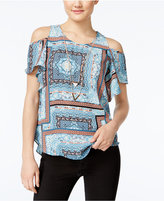Amy Byer Juniors' Printed Off-The-Shoulder Top with Necklaces