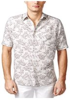 Tasso Elba Mens Leaf Print Ss Button Up Shirt L