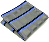 Shlax & Wing Shlax&Wing Stripes Mens Hanky Pocket Square Silver Blue Business Silk