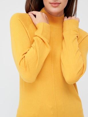 Very Super SoftFront Seam Detail Longline Jumper - Mustard