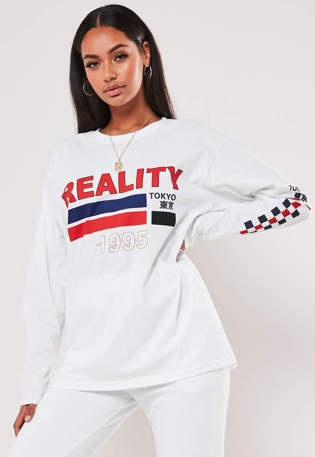 Missguided White Reality 1995 Graphic Long Sleeve T Shirt
