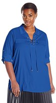 Calvin Klein Women's Lace-Up Top with Collar