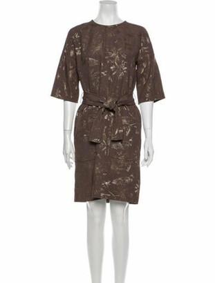 Paule Ka Crew Neck Knee-Length Dress Brown