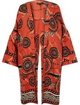 River Island Womens Orange print split back kimono