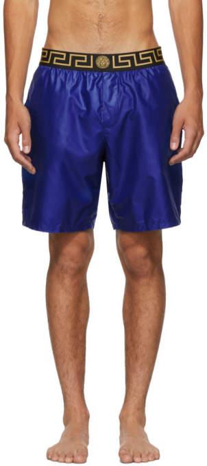 2c376cc147 Underwear Blue Greek Key Medusa Swim Shorts