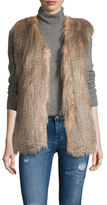 Via Spiga Faux Feathered Collarless Vest