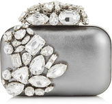 Jimmy Choo CLOUD Steel Metallic Nappa Leather Clutch Bag with Crystals