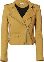 IRO Ashville Yellow Cropped Leather Jacket Yellow 34