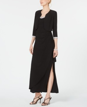 R & M Richards Cropped Jacket & Ruffled Gown