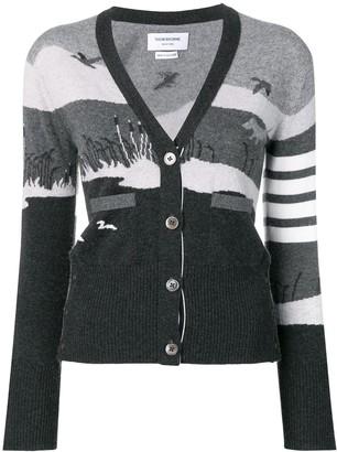 Thom Browne 4-Bar Hunting intarsia cashmere cardigan