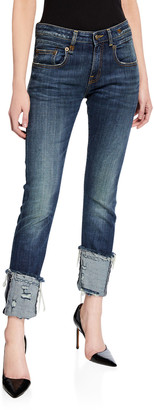 R 13 Boy Distressed Skinny Jeans with Cuffs