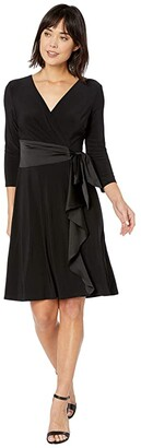 Lauren Ralph Lauren Satin-Ruffle Jersey Dress (Black) Women's Clothing
