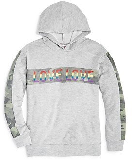 Flowers by Zoe Girls' Camo Stripe Love Hoodie - Big Kid