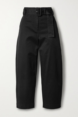 Proenza Schouler White Label Belted Cropped Cotton-blend Twill Straight-leg Pants - Black