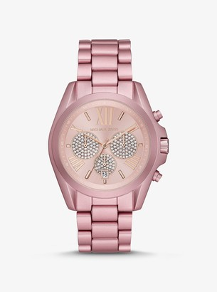 Michael Kors Oversized Bradshaw Pave Pink-Tone Aluminum Watch
