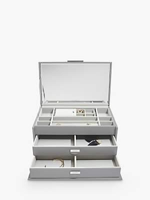 Dulwich Leather Large Jewellery Box, Grey