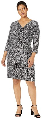 Lauren Ralph Lauren Plus Size Floral Jersey Dress (Black/Cannes Blue/Colonial Cream) Women's Dress