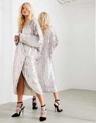 ASOS EDITION oversized embellished drape sleeve wrap midi dress