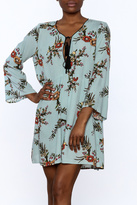 Glam Blue Floral Tunic Dress