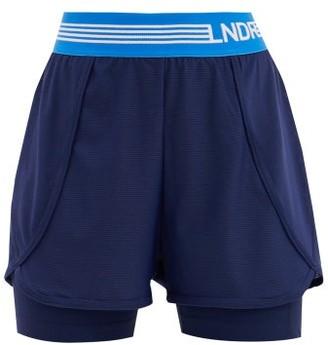 LNDR Dooble Logo-jacquard Layered Mesh Shorts - Womens - Navy Multi