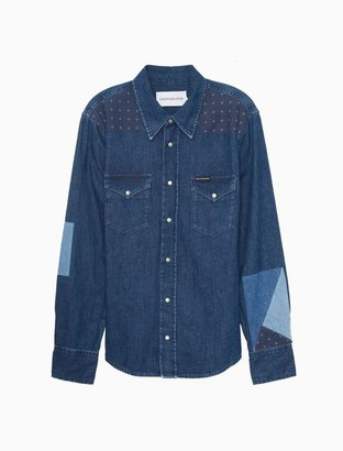 Calvin Klein Quilted Button-Down Denim Shirt