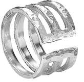 Dower & Hall Nomad Sterling Silver Beaten Triple Bar Ring - Size L