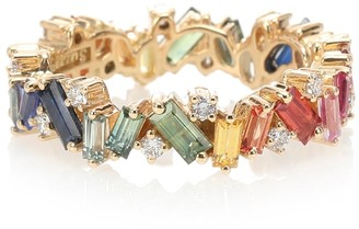 Suzanne Kalan Rainbow Frenzy 18kt gold, diamond and sapphire ring