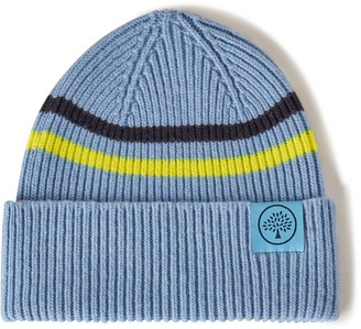 Mulberry Beanie Neon Stripe Pale Slate and Neon Yellow