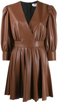 MSGM Puff-Sleeve V-Neck Mini Dress