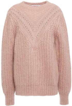 Alberta Ferretti Pointelle-trimmed Ribbed Mohair-blend Sweater