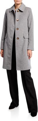 Fleurette Button-Front Back-Belt Wool Coat