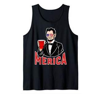 Merica Abraham Lincoln American Flag Patriotic Sunglasses Tank Top