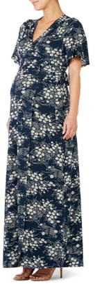 Ingrid & Isabel Flutter Sleeve Knit Maternity/Nursing Maxi Dress
