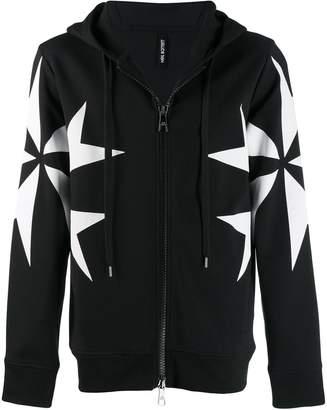 Neil Barrett cross print zip-up hoodie