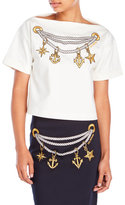 Love Moschino Nautical Embroidered Boxy Top