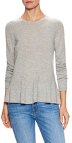 Wool Cashmere Ribbed Flounce Hem Sweater