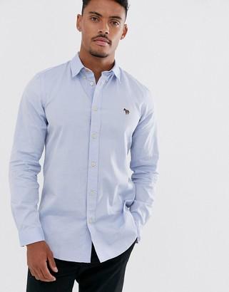Paul Smith zebra logo tailored fit long sleeve oxford shirt in light blue