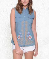Paparazzi Blue Chambray Floral Embroidered Sleeveless Snap Button-Up