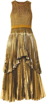 Altuzarra Mishka Metallic Cable-knit And Pleated Lurex Midi Dress