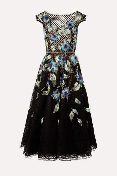 Marchesa Feather-trimmed Embellished Tulle And Lace Gown - Black