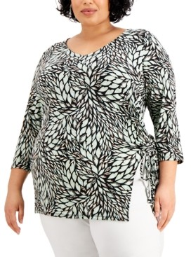 JM Collection Plus Size Perla Printed Ruched Top, Created for Macy's