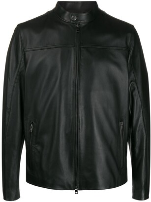 Michael Kors Mock-Neck Biker Jacket
