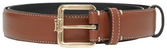 Burberry Leather Monogram-Buckle Belt