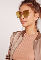 Missguided Cat Eye Oversized Sunglasses Gold