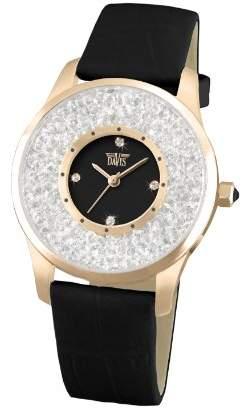 Swarovski Davis Ladies Fashion Black RoseGold Elegant Watch with crystal