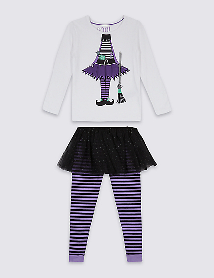 Marks and Spencer Printed Witch Pyjamas with Tutu (9 Months - 8 Years)